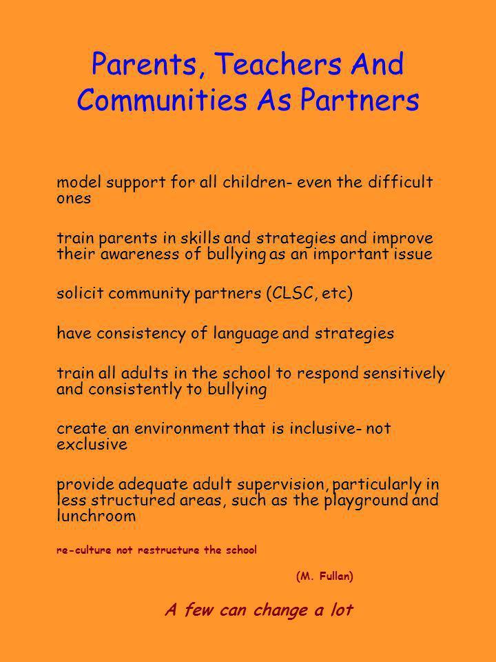 Parents, Teachers And Communities As Partners