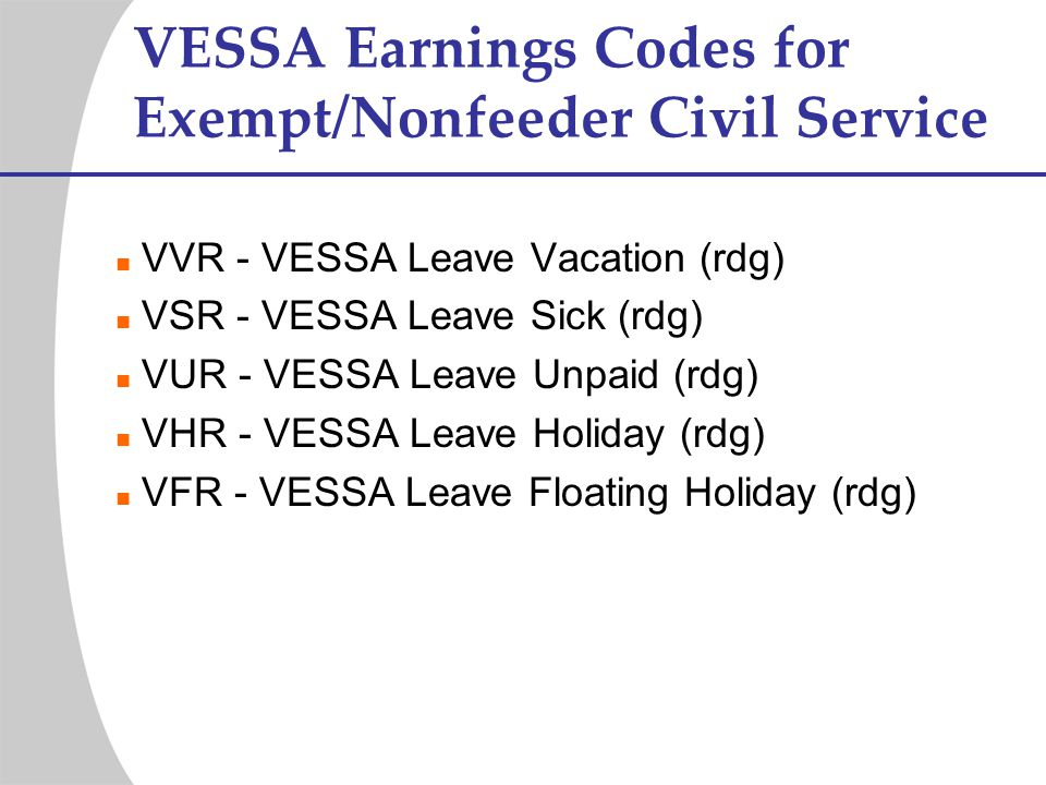 VESSA Earnings Codes for Exempt/Nonfeeder Civil Service