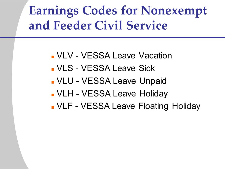 Earnings Codes for Nonexempt and Feeder Civil Service