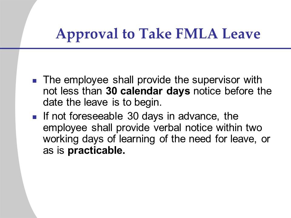 Approval to Take FMLA Leave