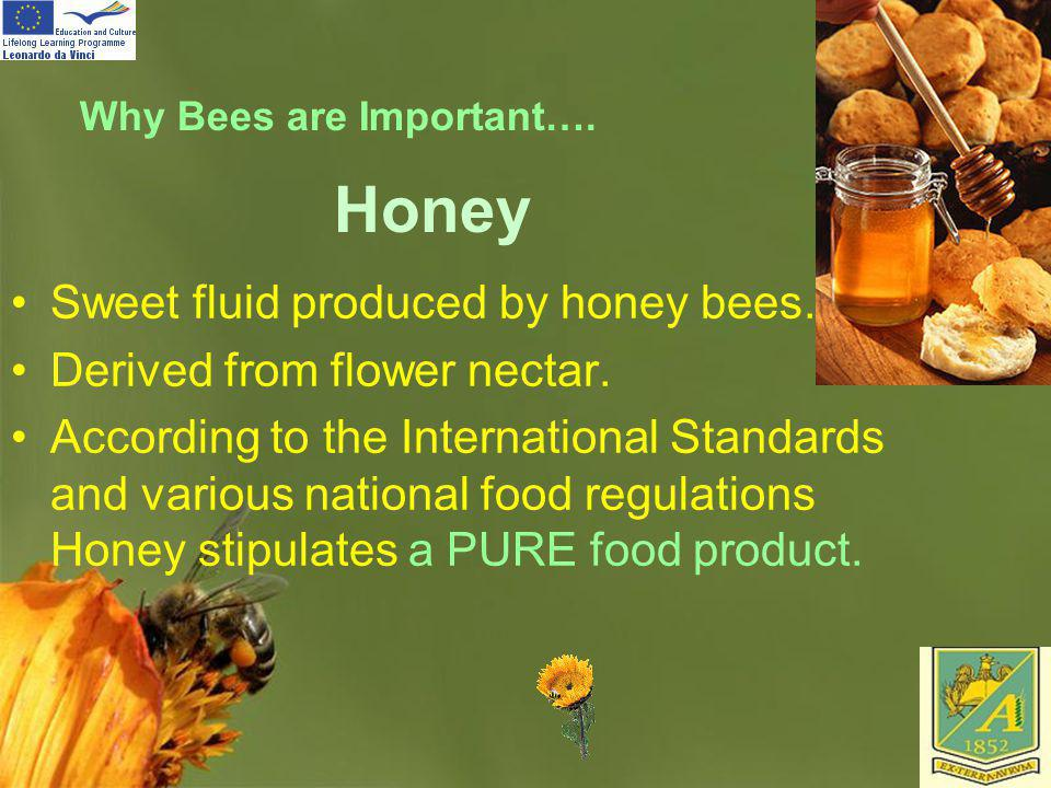 Honey Sweet fluid produced by honey bees. Derived from flower nectar.
