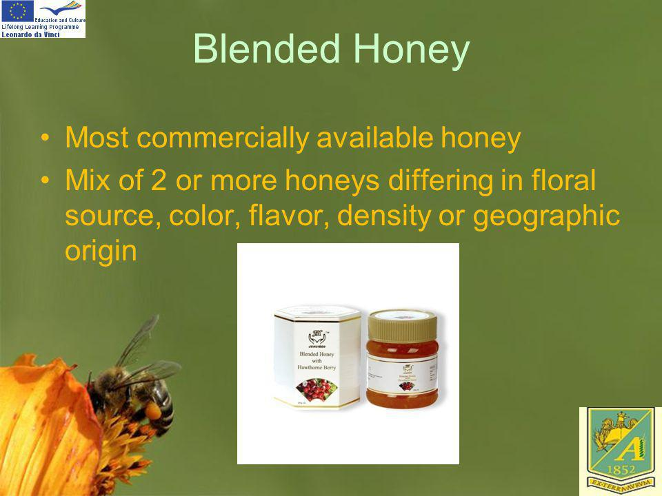 Blended Honey Most commercially available honey