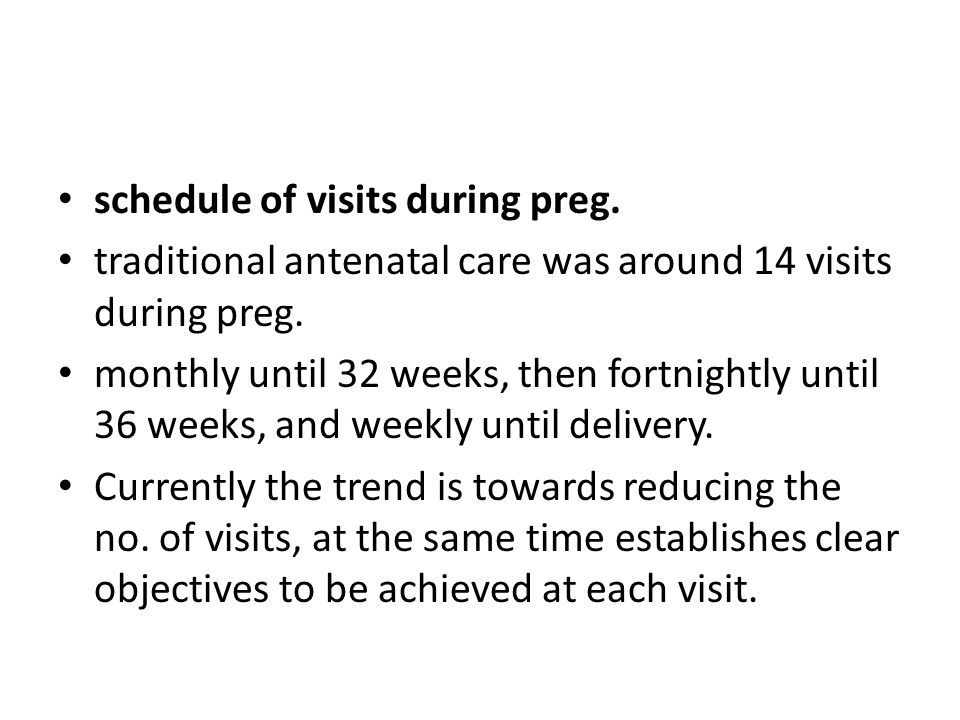 schedule of visits during preg.