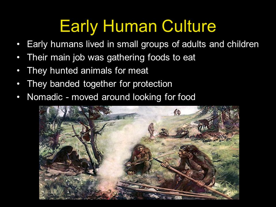 Early Human Culture Early humans lived in small groups of adults and children. Their main job was gathering foods to eat.