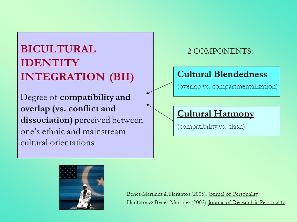 BICULTURAL IDENTITY INTEGRATION (BII) Degree of compatibility and overlap (vs. conflict and dissociation) perceived between one's ethnic and mainstream cultural orientations
