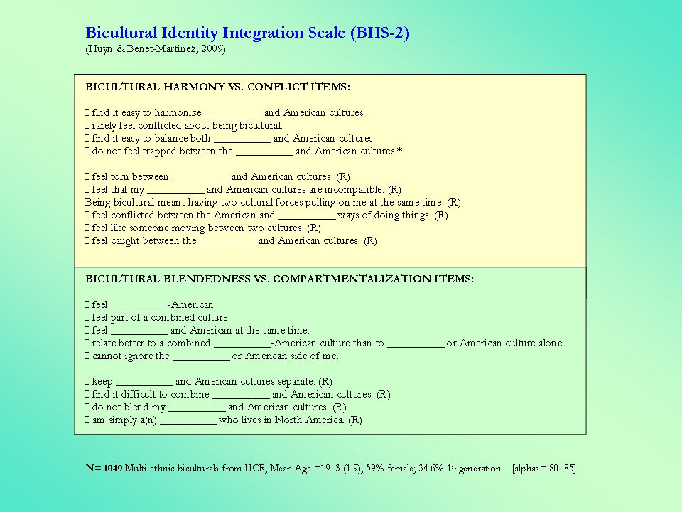 -these two dimensions are independent: 4 types of biculturals