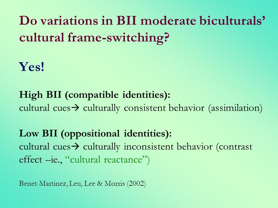 Do variations in BII moderate biculturals' cultural frame-switching