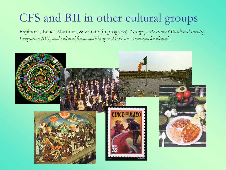 CFS and BII in other cultural groups Espinoza, Benet-Martinez, & Zarate (in progress).