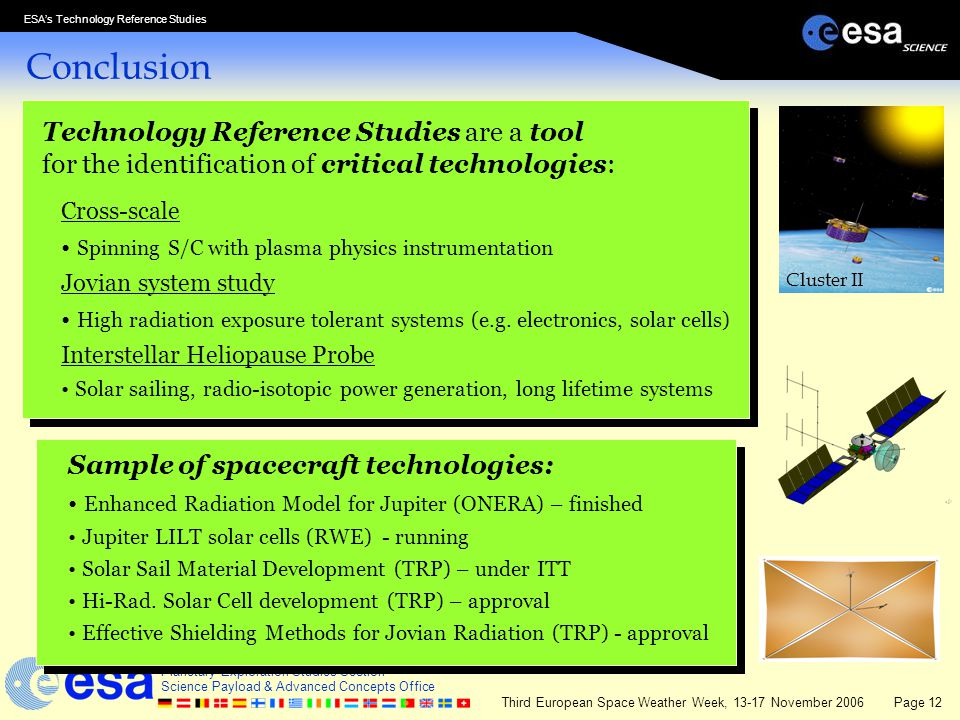 Conclusion Technology Reference Studies are a tool