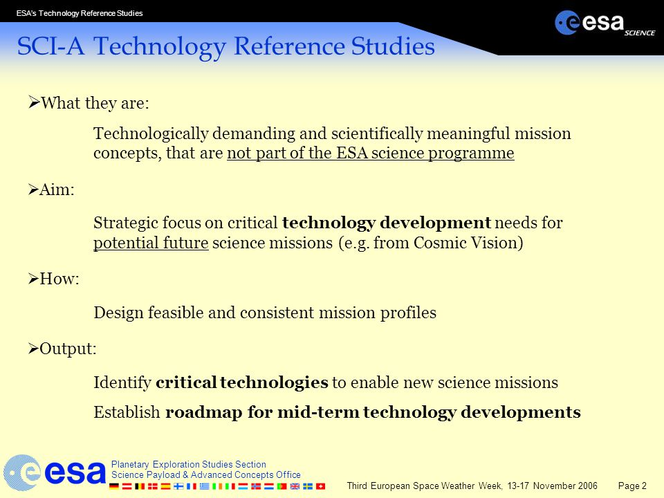 SCI-A Technology Reference Studies
