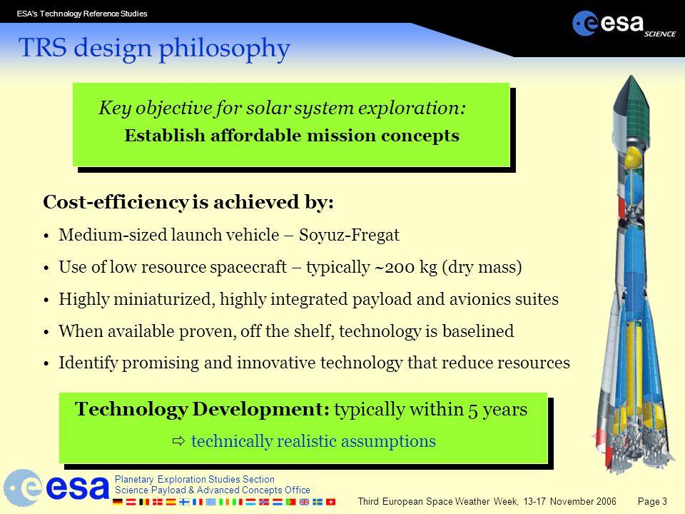 TRS design philosophy Key objective for solar system exploration: