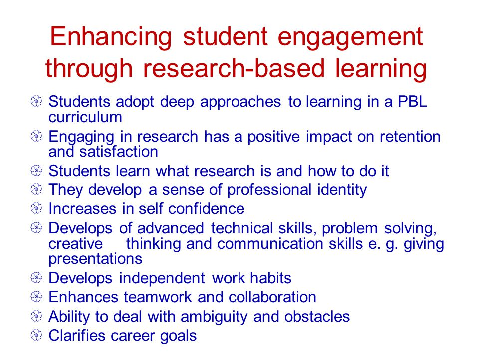 Enhancing student engagement through research-based learning