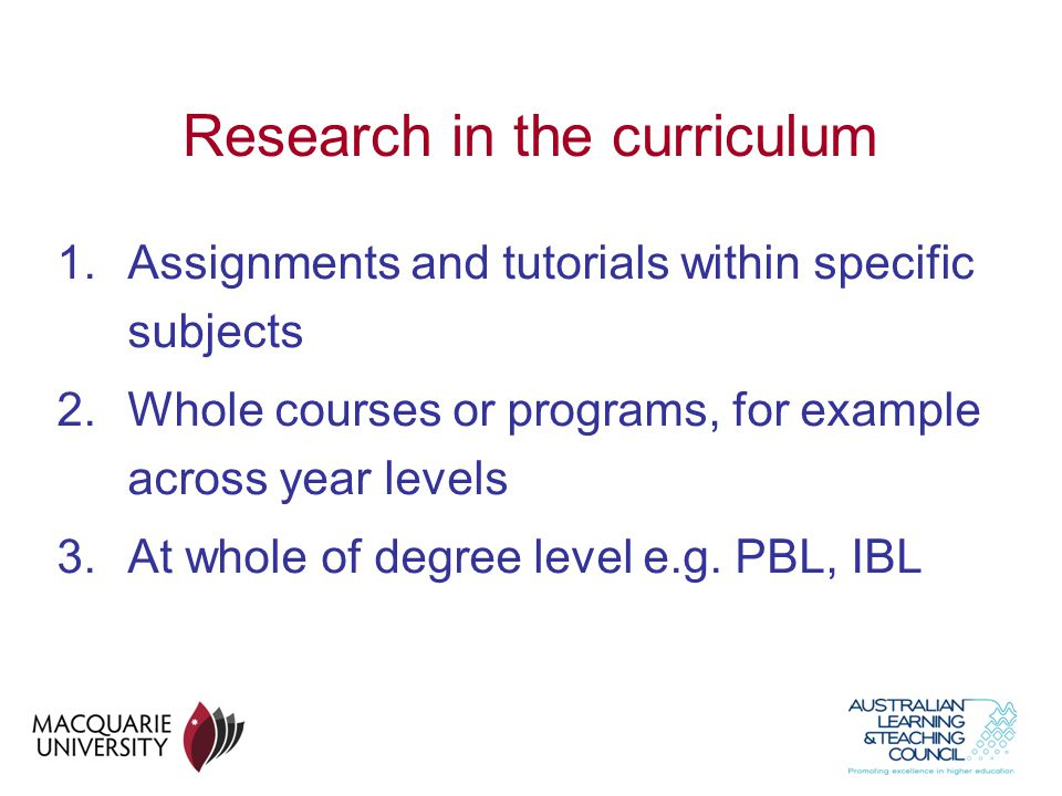 Research in the curriculum
