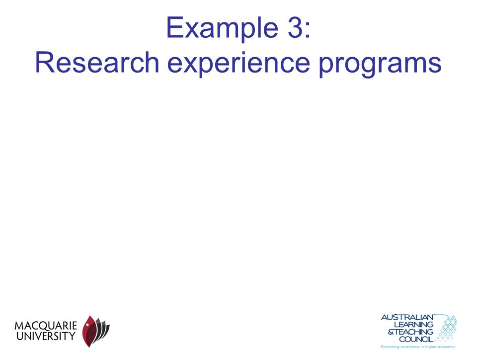 Example 3: Research experience programs