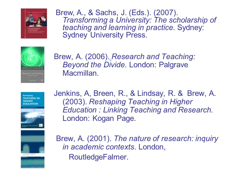 Brew, A., & Sachs, J. (Eds.). (2007). Transforming a University: The scholarship of teaching and learning in practice. Sydney: Sydney University Press.