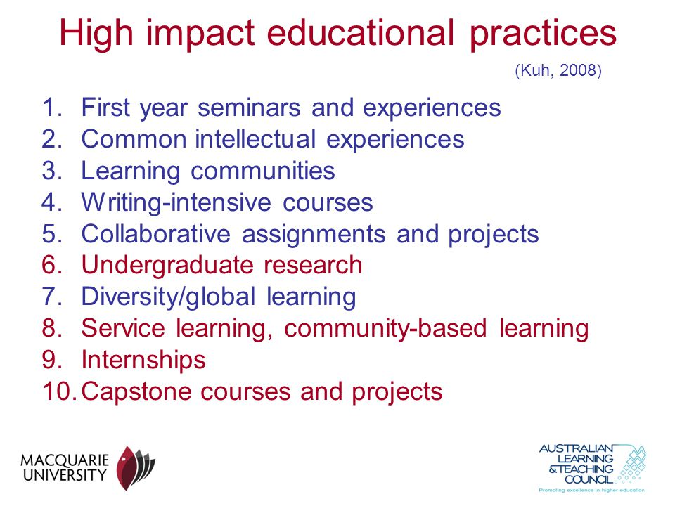 High impact educational practices
