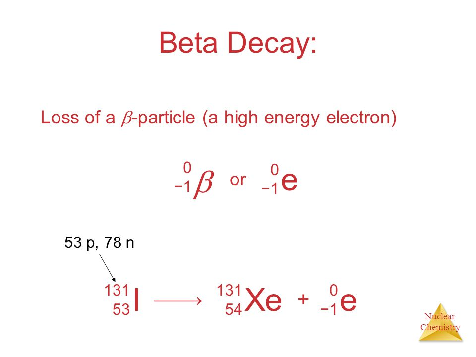  e I Xe e Beta Decay: + Loss of a -particle (a high energy electron)