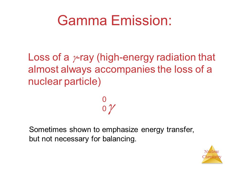 Gamma Emission: Loss of a -ray (high-energy radiation that almost always accompanies the loss of a nuclear particle)