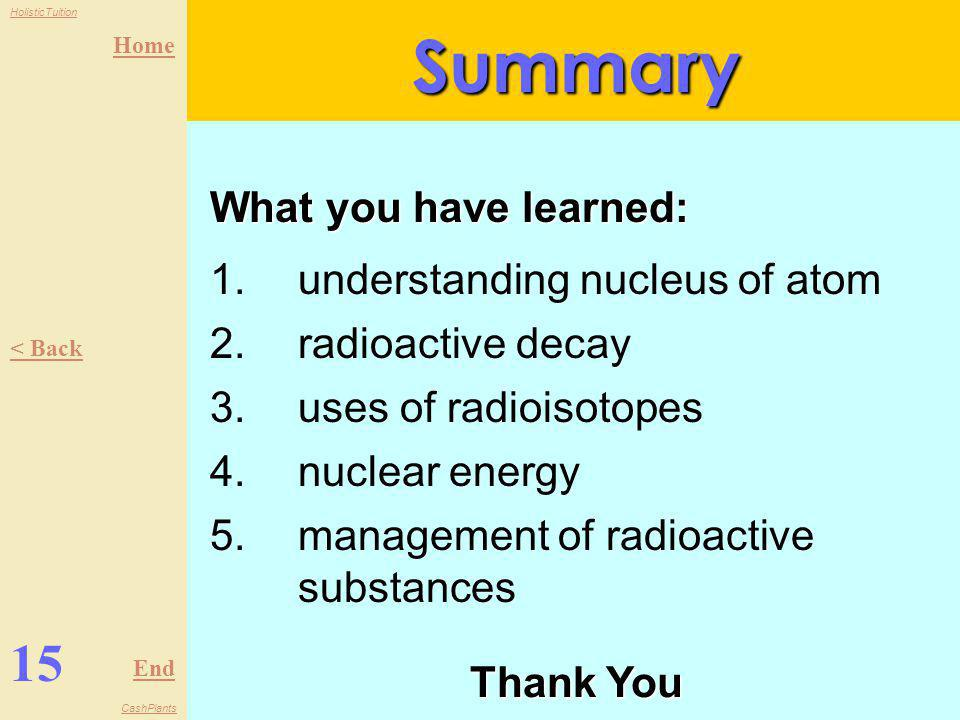Summary 15 What you have learned: understanding nucleus of atom