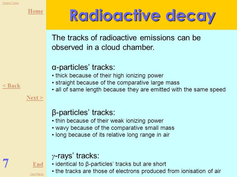 Radioactive decay The tracks of radioactive emissions can be observed in a cloud chamber. α-particles' tracks: