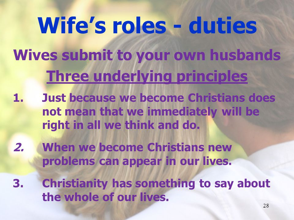 Wives submit to your own husbands Three underlying principles