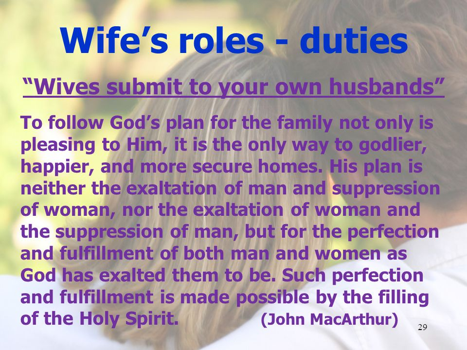 Wives submit to your own husbands