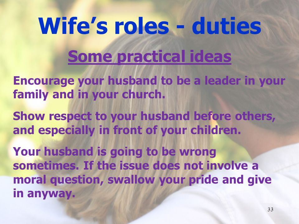 Wife's roles - duties Some practical ideas