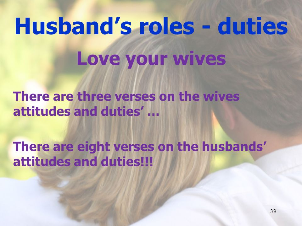Husband's roles - duties