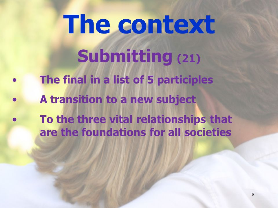The context Submitting (21) The final in a list of 5 participles