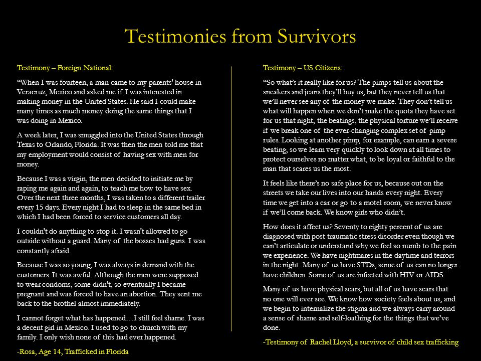 Testimonies from Survivors