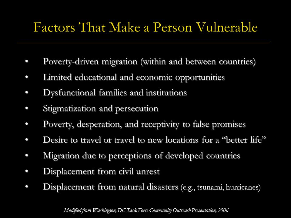 Factors That Make a Person Vulnerable