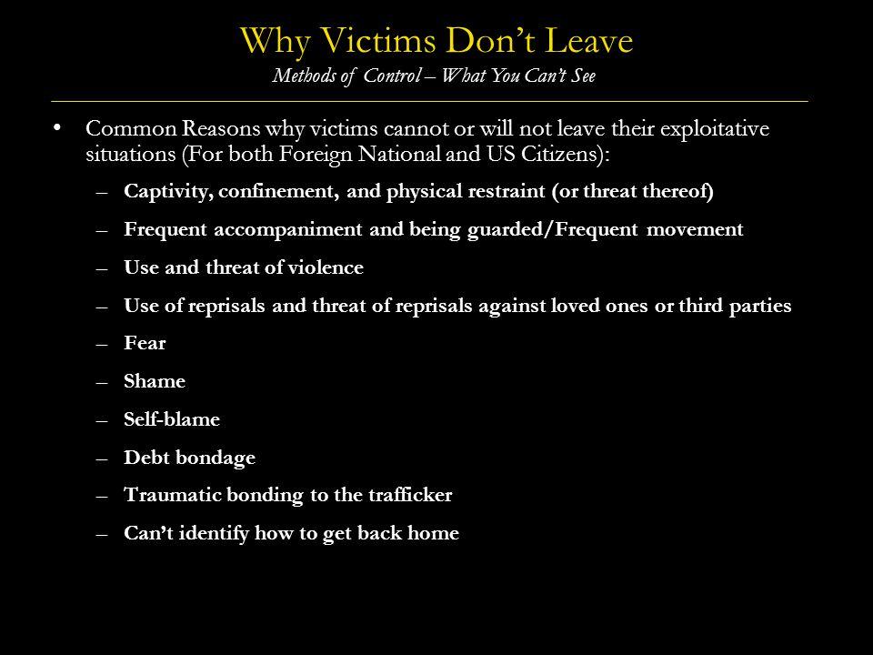 Why Victims Don't Leave
