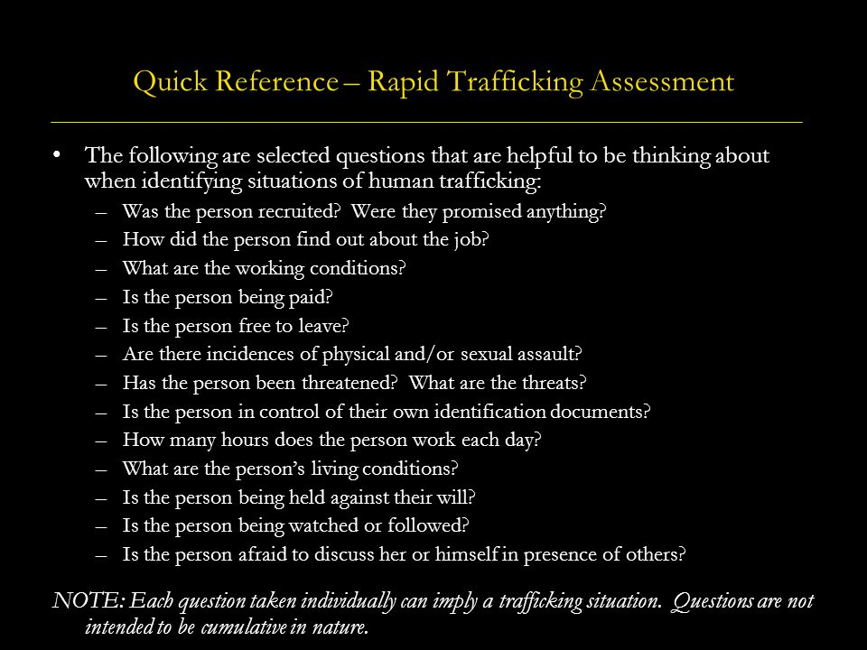 Quick Reference – Rapid Trafficking Assessment