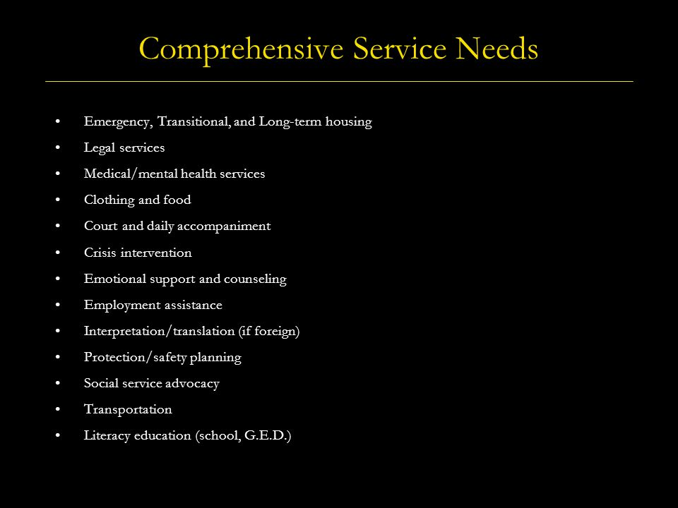 Comprehensive Service Needs