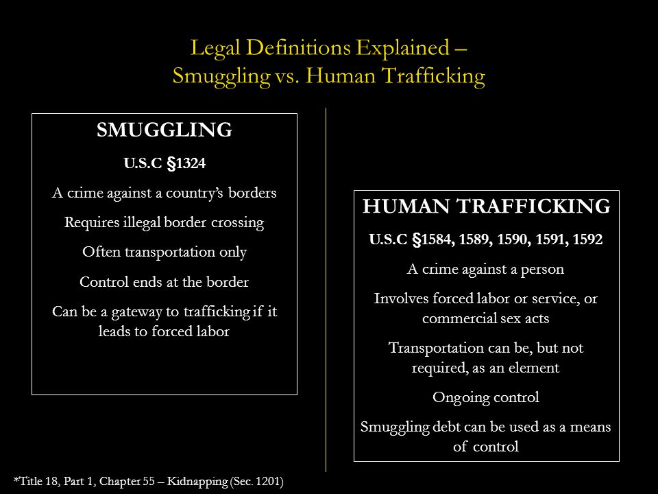 Legal Definitions Explained – Smuggling vs. Human Trafficking