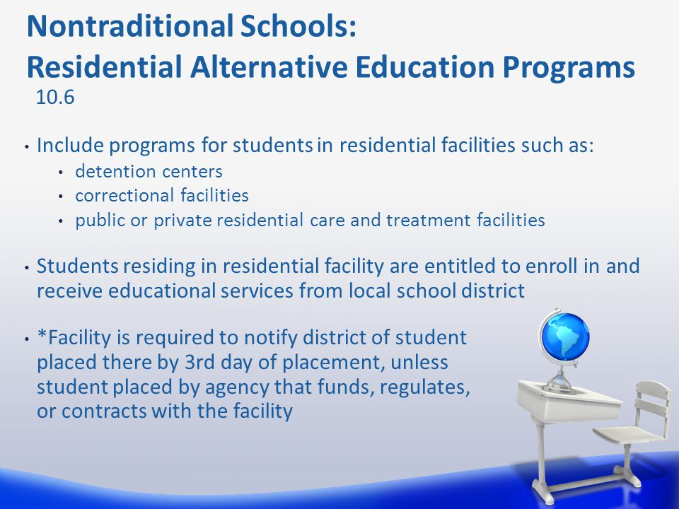 Nontraditional Schools: Residential Alternative Education Programs