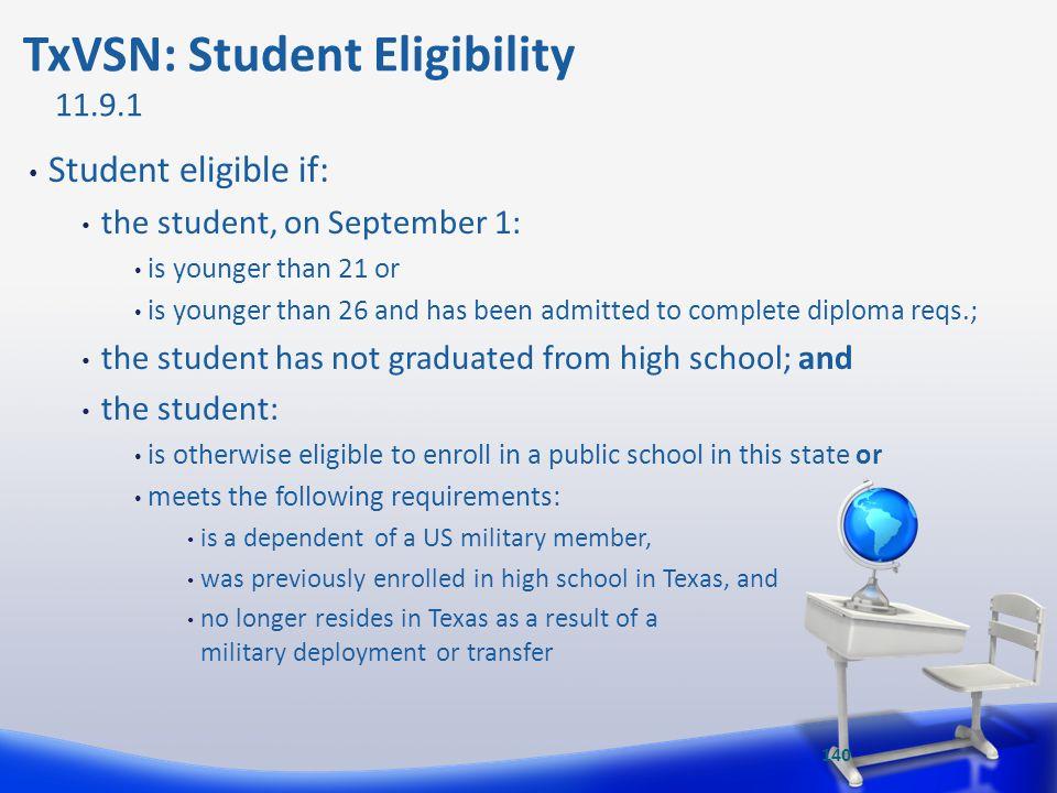 TxVSN: Student Eligibility
