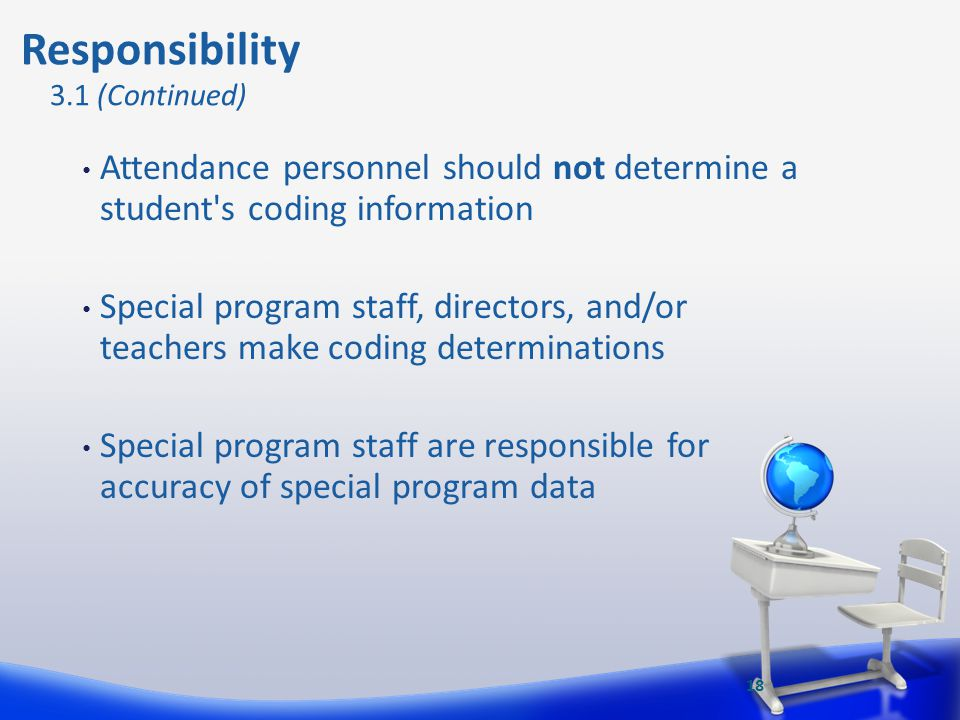 Responsibility 3.1 (Continued) Attendance personnel should not determine a student s coding information.