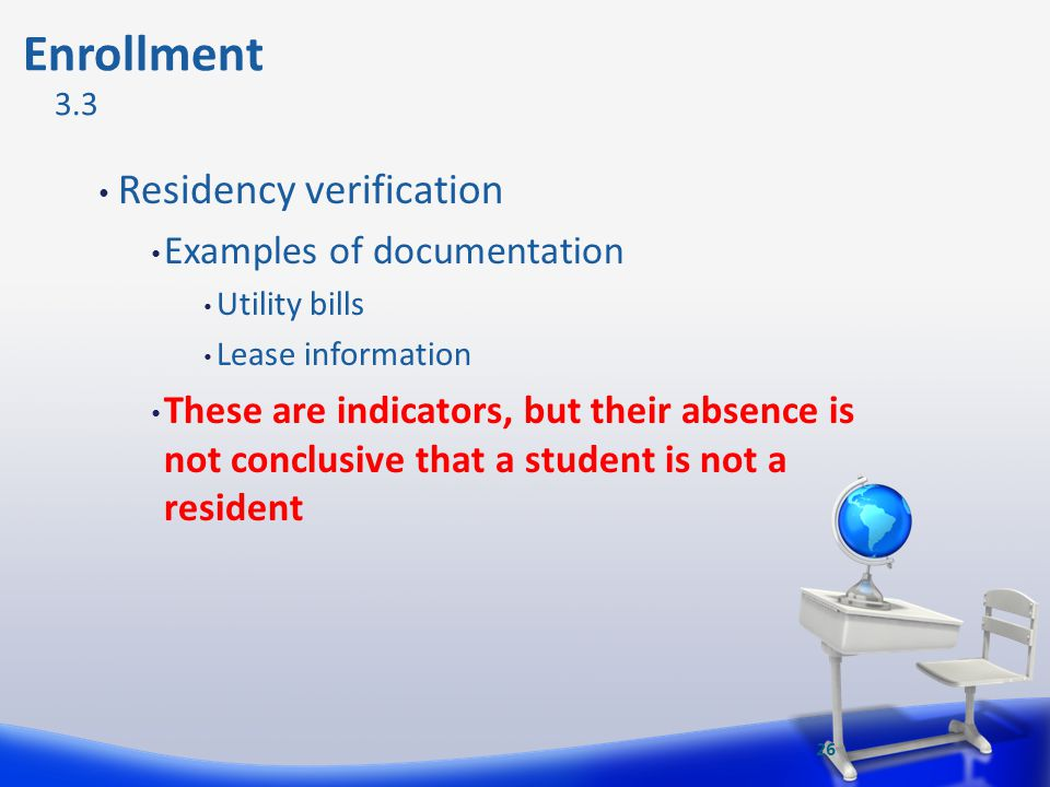 Enrollment Residency verification Examples of documentation