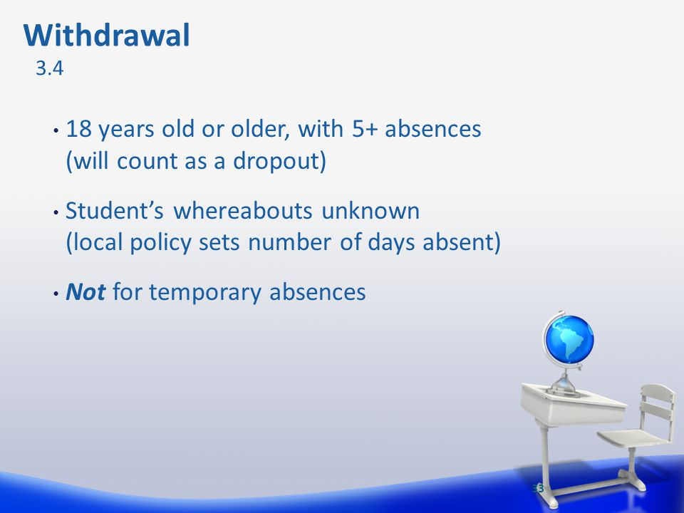 Withdrawal 3.4. 18 years old or older, with 5+ absences (will count as a dropout)