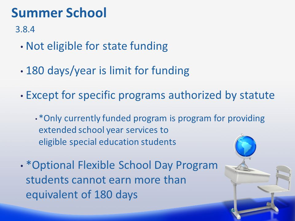 Summer School Not eligible for state funding