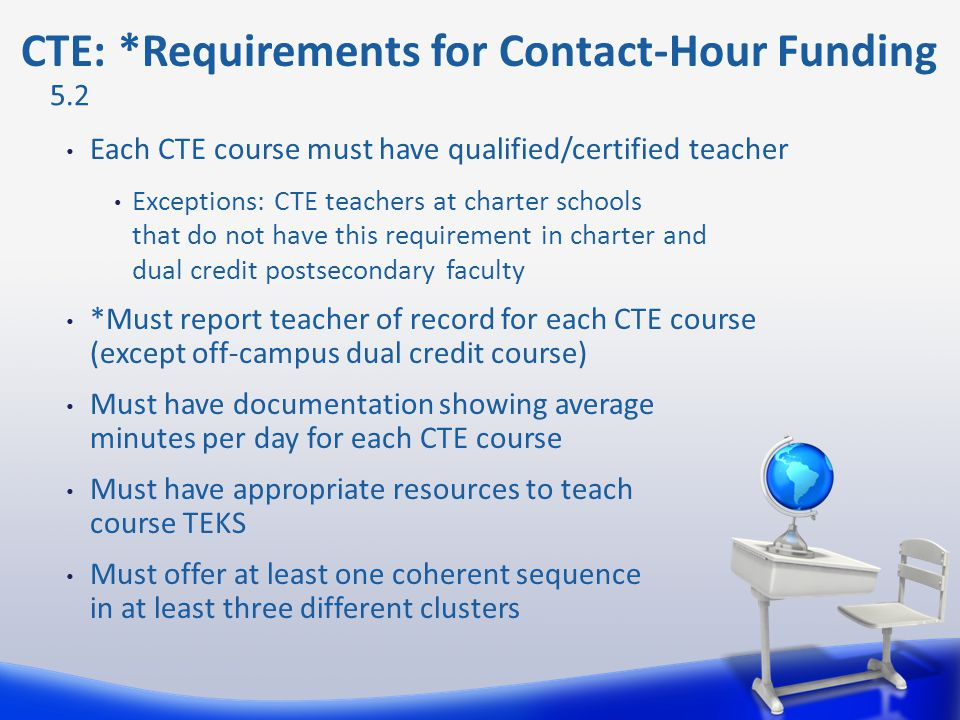 CTE: *Requirements for Contact-Hour Funding