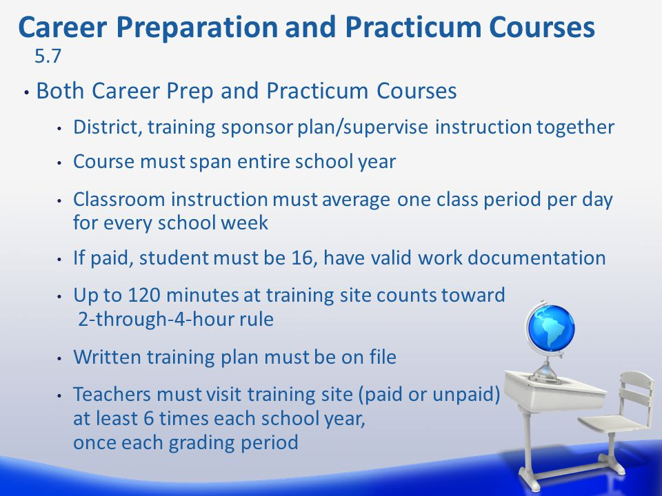 Career Preparation and Practicum Courses