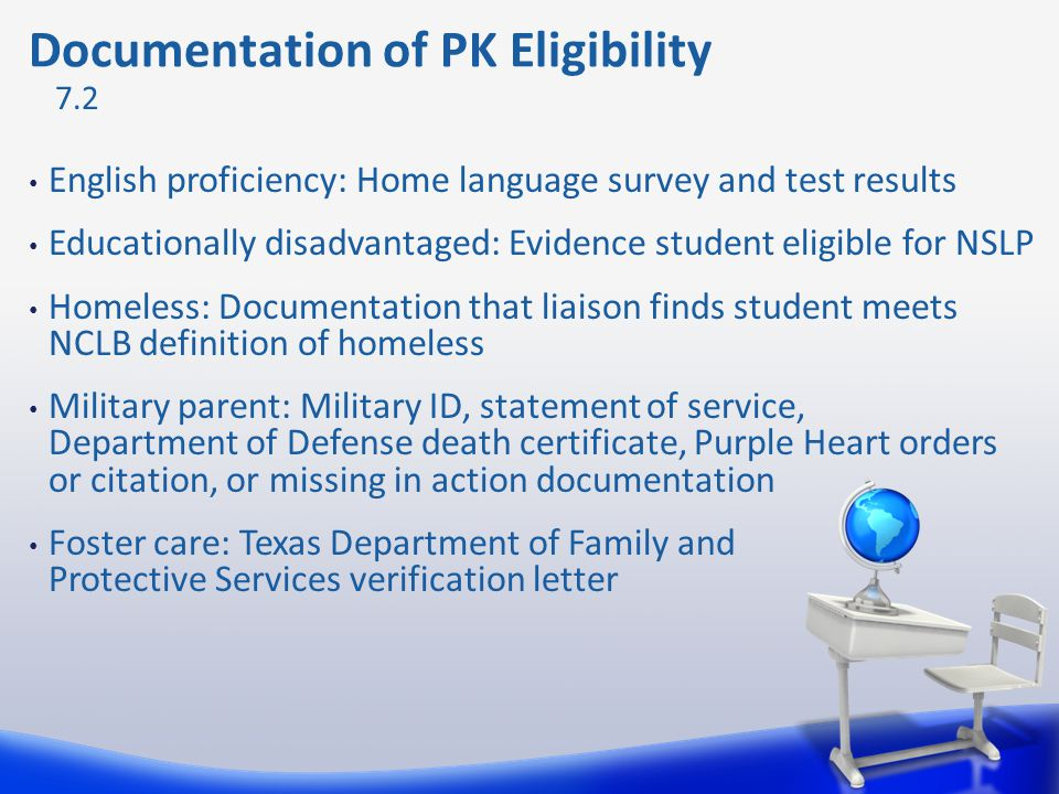 Documentation of PK Eligibility