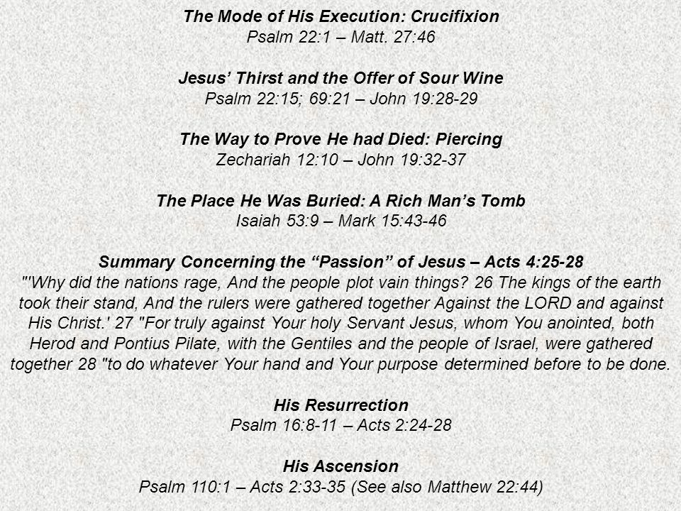 The Mode of His Execution: Crucifixion Psalm 22:1 – Matt. 27:46