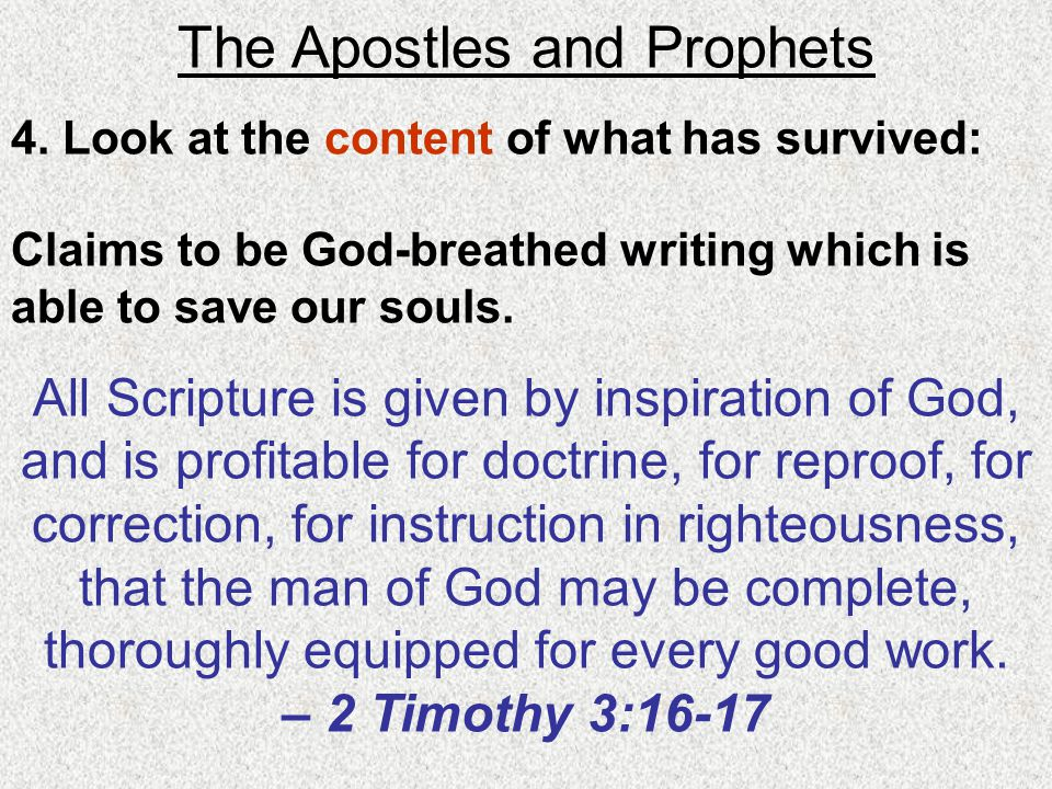 The Apostles and Prophets