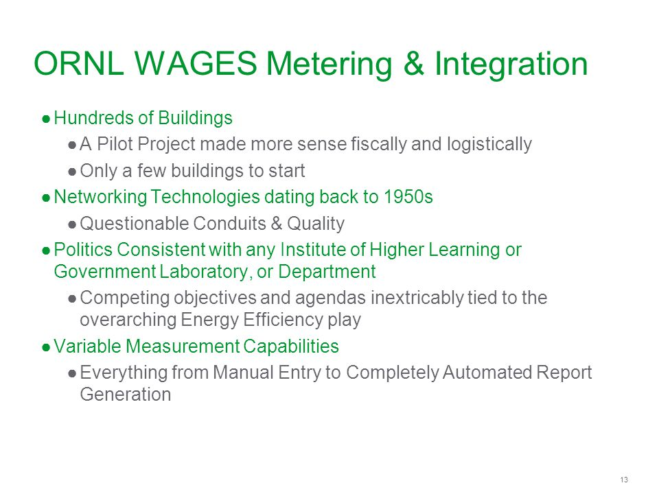ORNL WAGES Metering & Integration