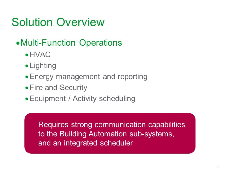 Solution Overview Multi-Function Operations HVAC Lighting