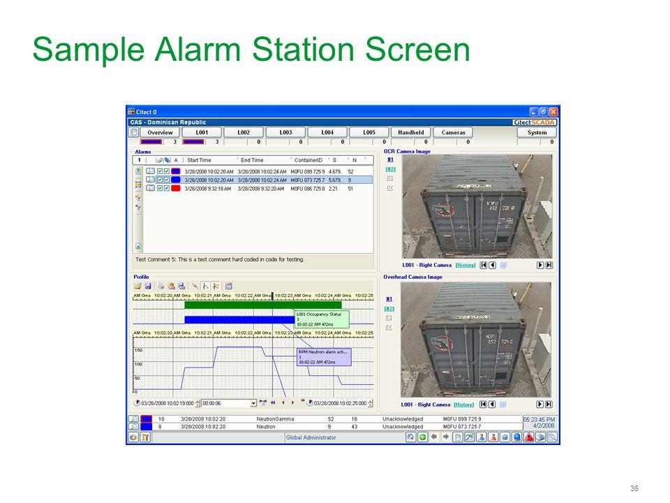 Sample Alarm Station Screen