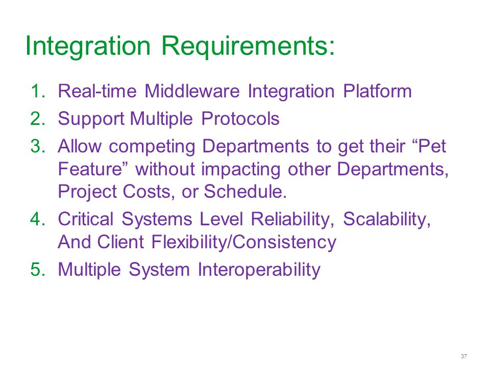 Integration Requirements: